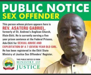 Ekiti Government Publishes Photo Of Anglican Priest Who Raped 7-year-old Girl